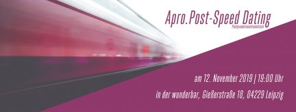 Speed Dating beim Postproduktionsstammtisch Apro.Post am 12. November 2019 in Leipzig.