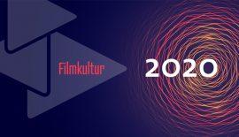 Eine Grafik mit einem Lichtkreis auf der rechten Bildseite auf blauem Untergrund, links daneben das Logo des Filmverbands bestehend aus 3 übereinandergelegten Dreiecken. Über beiden der Schriftzug Filmkultur 2020.