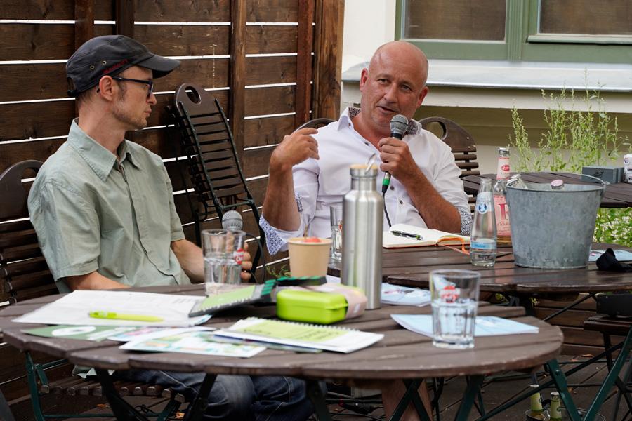 """Jürgen Kleinig auf dem Panel """"Grünes Drehen"""""""