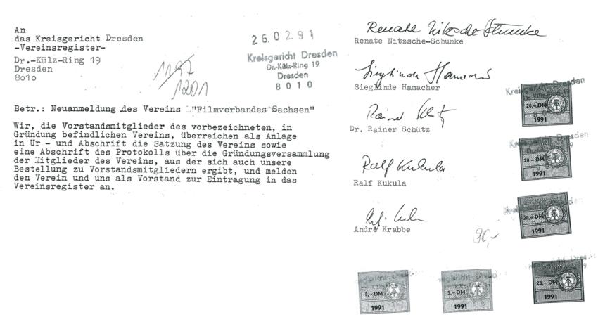 """Neuanmeldung des Vereins """"Filmverband Sachsen"""" im Vereinsregister"""