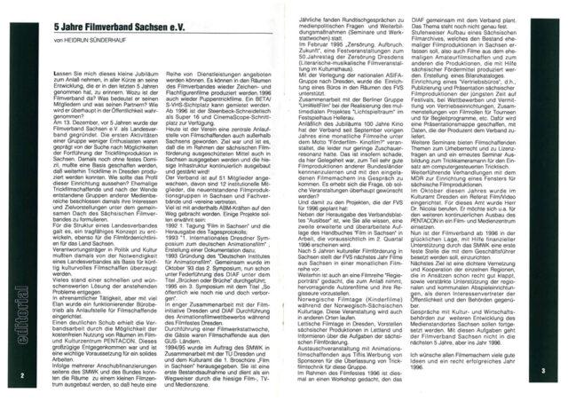 """Editorial aus dem Auslöser Dez 95/Jan 96 über """"5 Jahre Filmverband Sachsen e. V."""" von Heidrun Sünderhauf."""