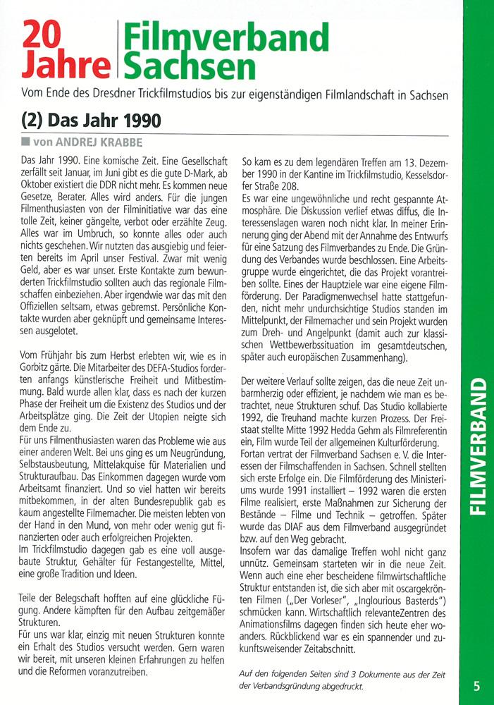 Artikel von Andrej Krabbe zu 20 Jahre Filmverband Sachsen im Auslöser 4/5 2010