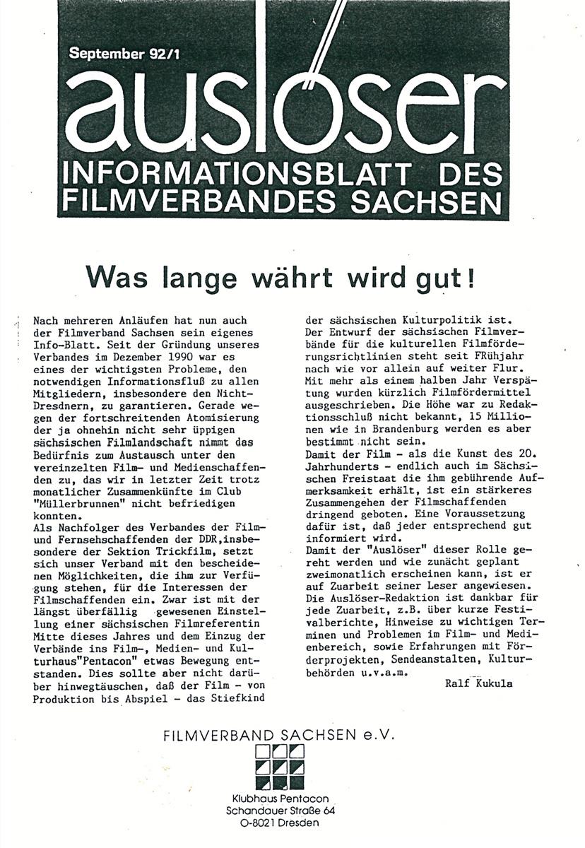 Covers der ersten Ausgabe des Auslösers 1992.